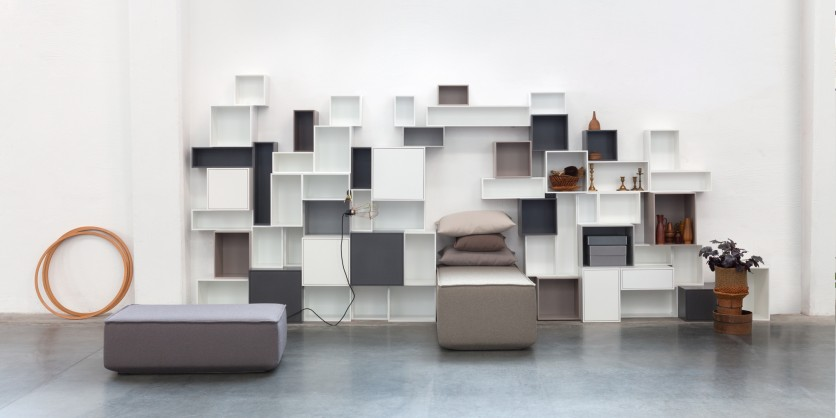 Modular shelving with white and grey modules