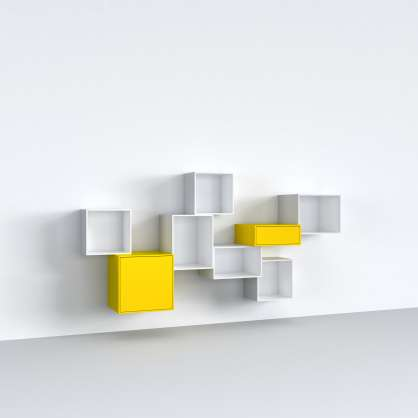 Stylish wall-mounted shelving in yellow and white