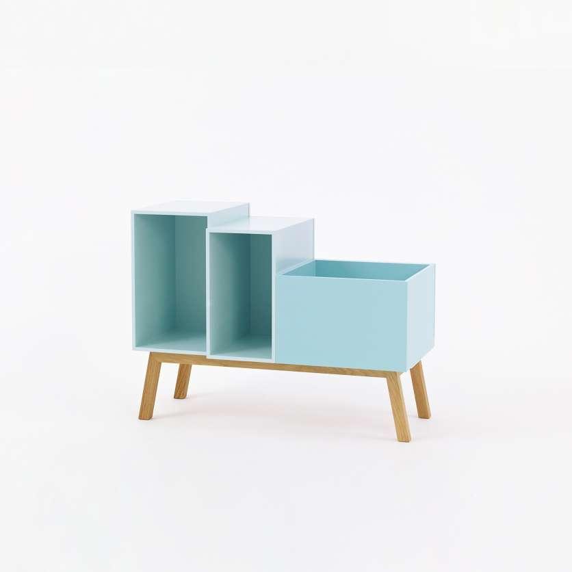 Buffet modulaire vintage couleur menthe à l eau avec pieds obliques, 80 cm