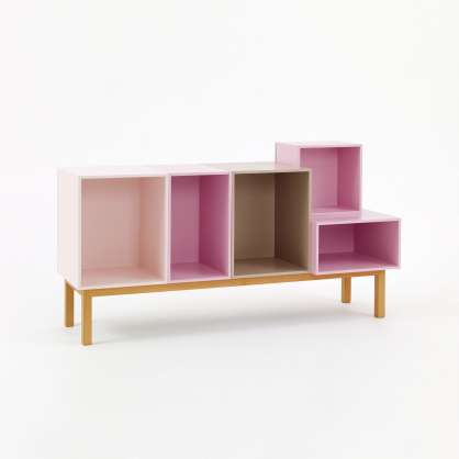 Open sideboard with a width of 1.25 m in pink and taupe with base frame