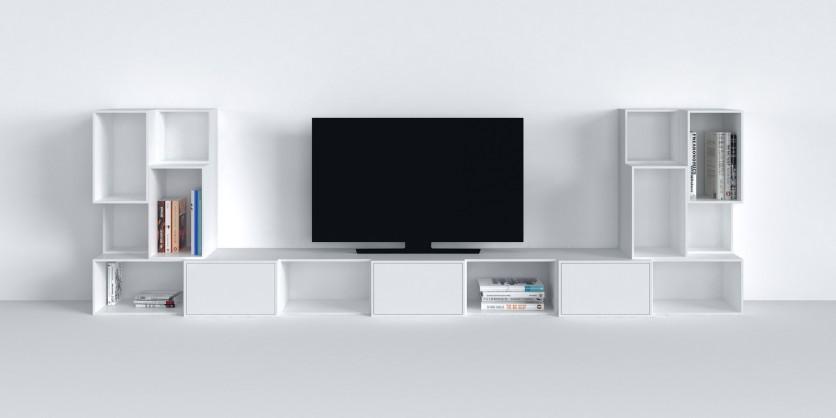 Modular TV shelving in white