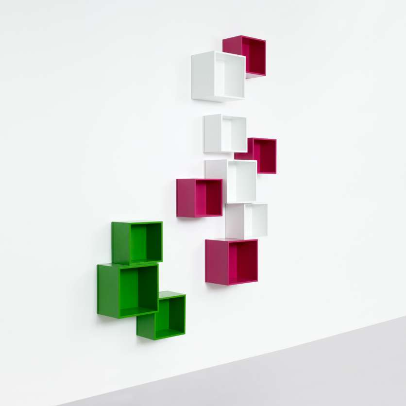 Modular wall-mounted shelving for DVDs and books