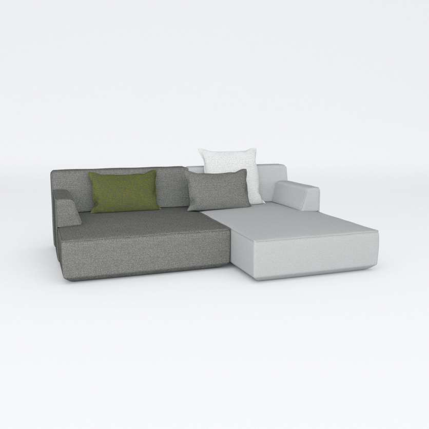 Go large: two extra wide chaise longues in shades of grey with cushions