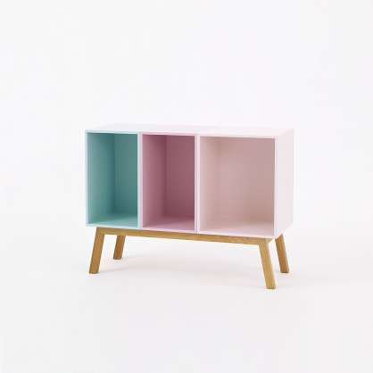 Sideboard in '60s design in shades of pastel with slanting feet