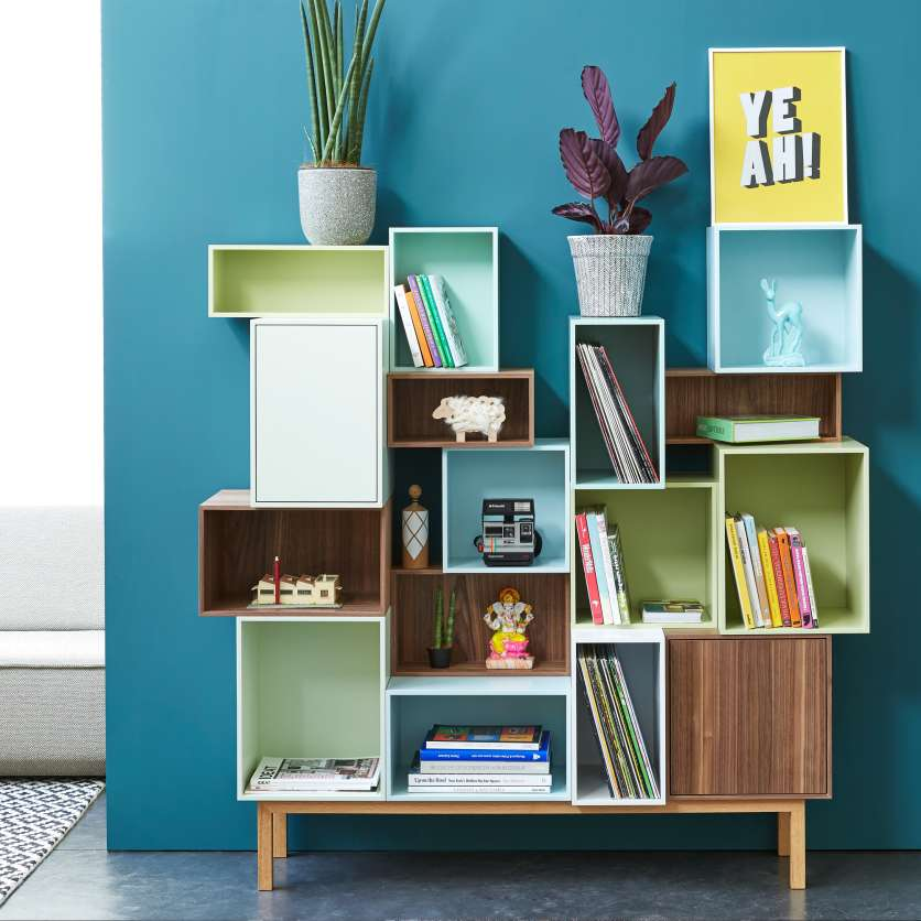 Tall sideboard with playful structure in various colours