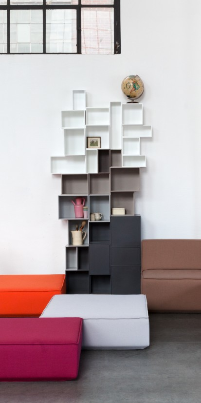 Individual shelving in various colours