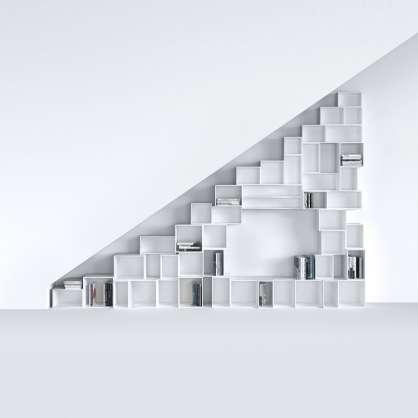 Étagère pour escalier, blanc laqué