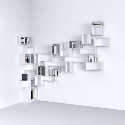 Wall-mounted corner shelving in white