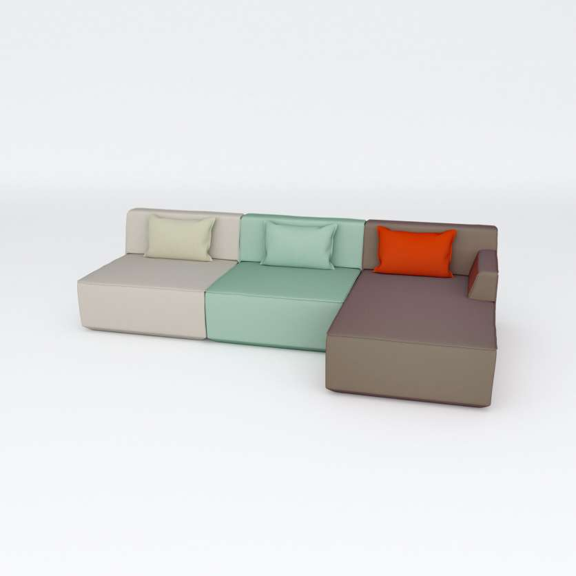 3-seater: L-shaped sofa for sitting and lounging