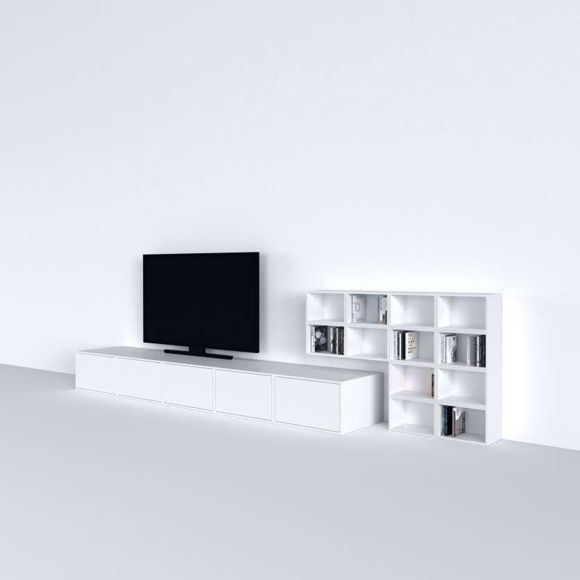 Floor-standing TV shelving combination in white