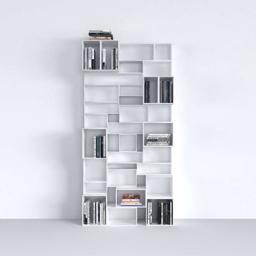Sistema modulare di scaffali laccato bianco