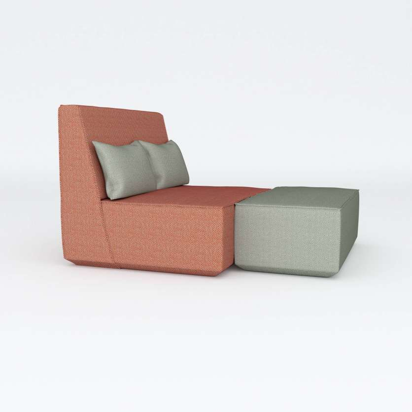 Supersize armchair with a narrow seat