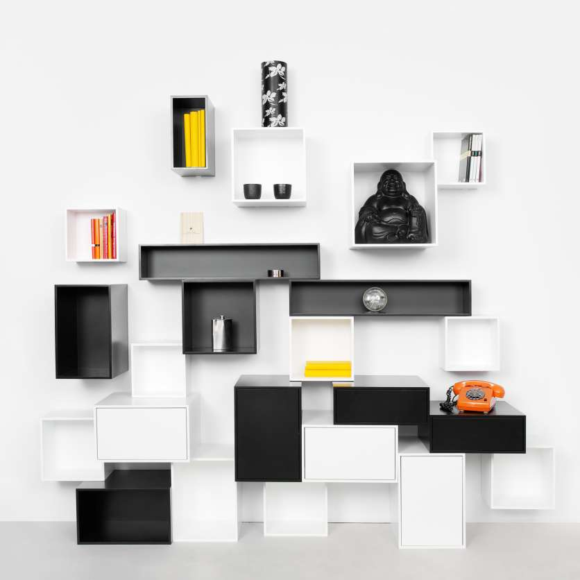 Modular shelving system in black and white