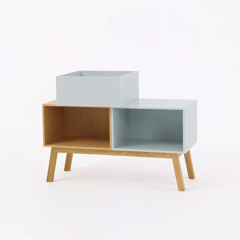 Modern sideboard in pastel-colours and oak