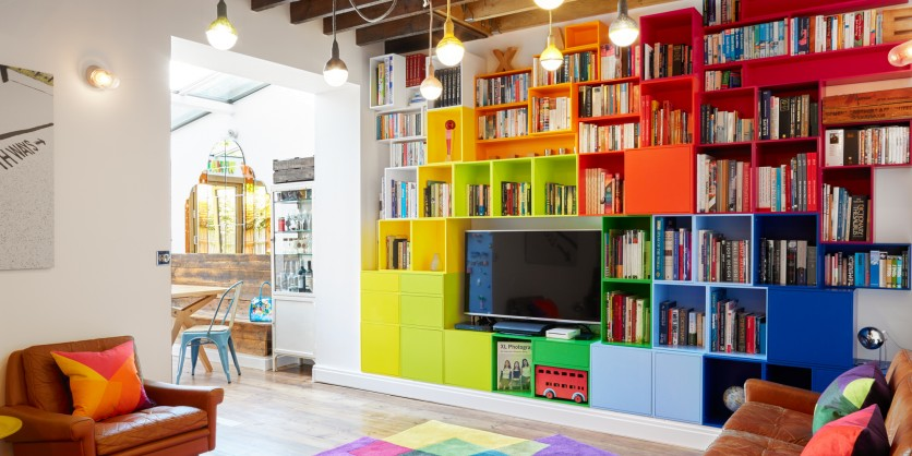 Made to measure: colourful TV book shelving