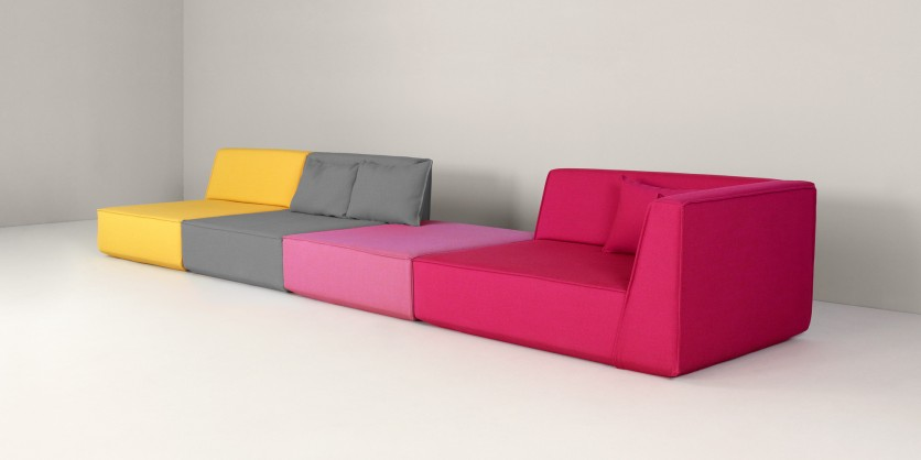 Sofa group: purist, straight-lined, modern
