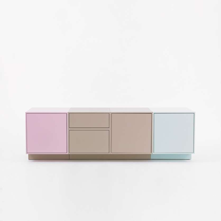 Modular sideboard 1.60 m with plinth in shades of pastel