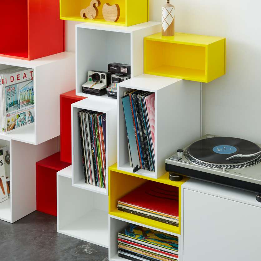 Colourful stackable shelving with turntable