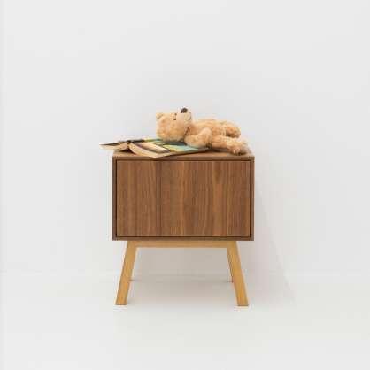 Nachtkonsole aus Holz mit Schublade