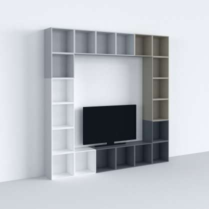 Modular TV shelving in various colours