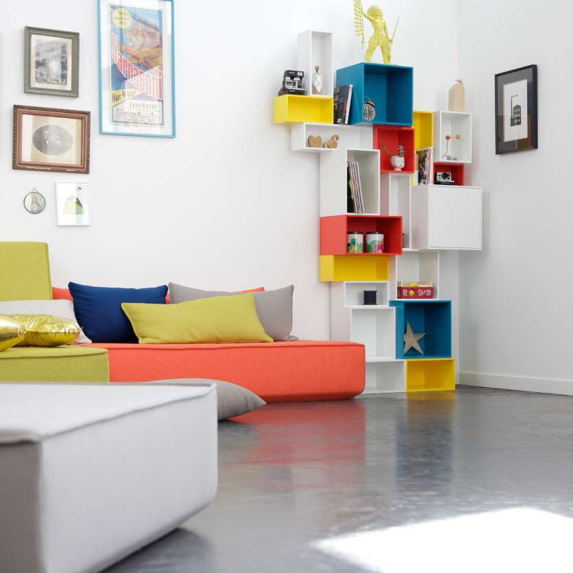 Individual, colourful, stackable shelving