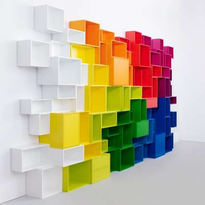 Étagère bibliothèque en différentes couleurs
