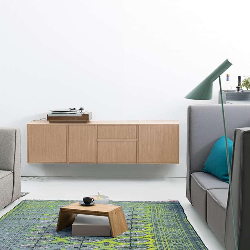 Elegant multimedia low sideboard in pale oak