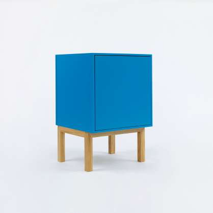 Blue mini shelving unit with door and base frame