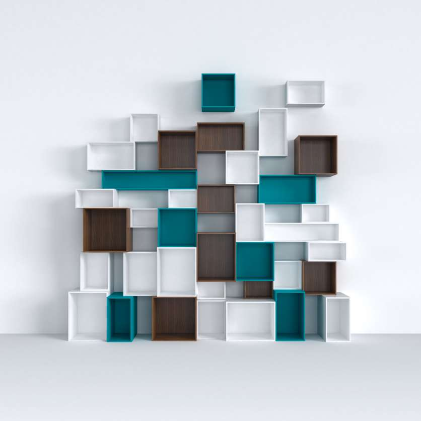 Stylish shelving system in various colours