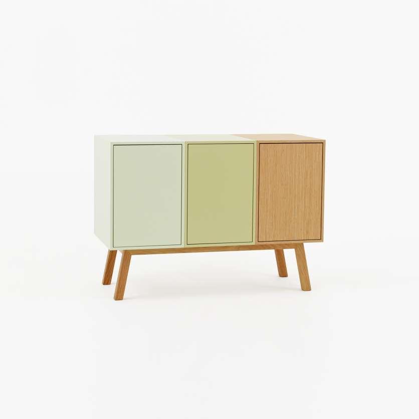 Individualised retro sideboard in shades of pastel and oak veneer
