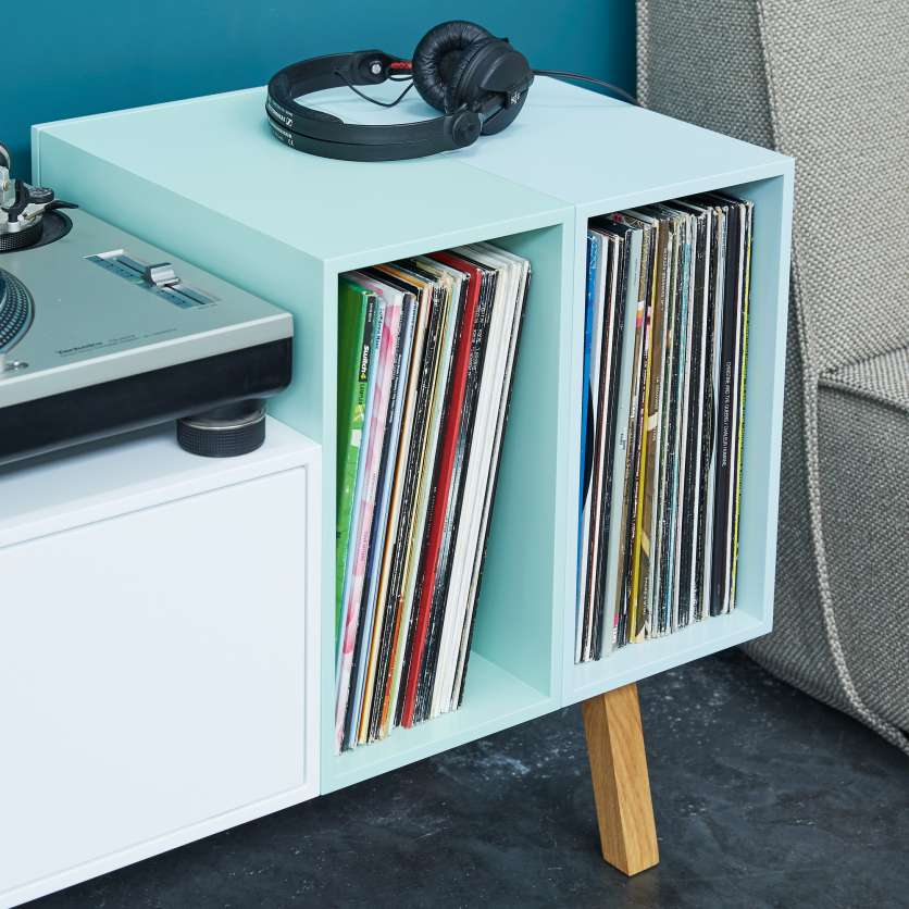 DJ sideboard with LPs and headphones