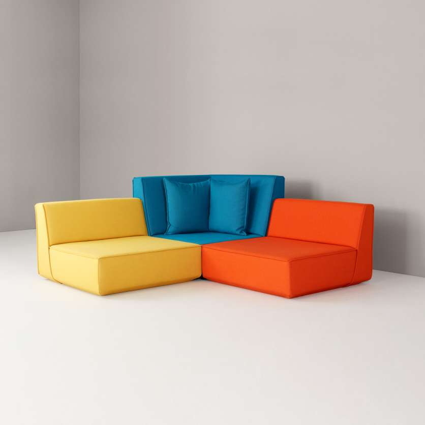 A three-seater playing with contrasting colours