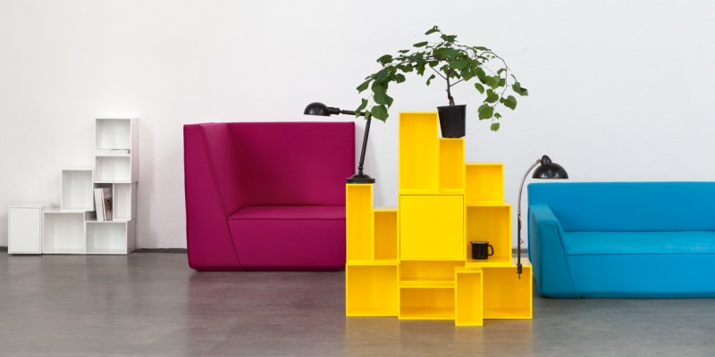 Modular furniture system consisting of shelving and sofa