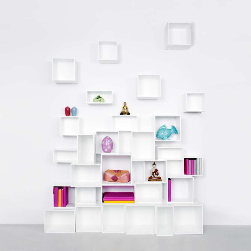 Modern shelving with suspended modules