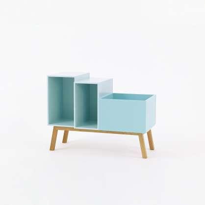 Modulares Retro Sideboard 80cm in Mint mit schrägen Füßen