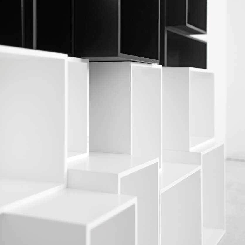 Black and white shelving modules
