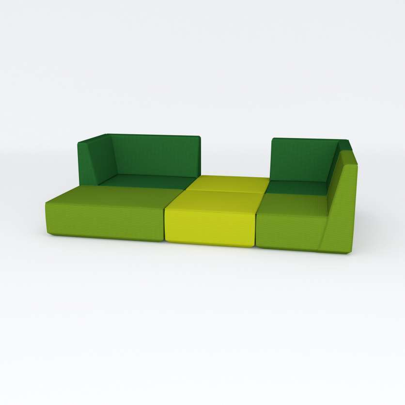 Green sofa ensemble with large, closed area