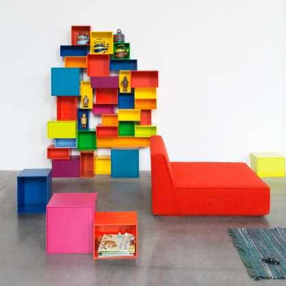 Étagère multicolore en cubes modulables