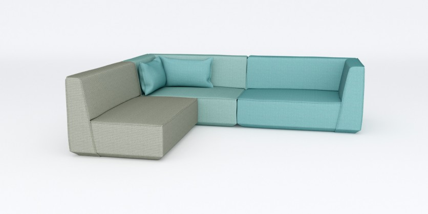 Communicative: the L-shaped sofa in blue-grey