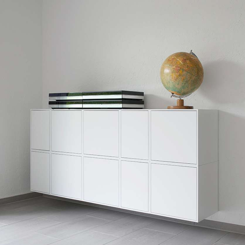 Wall-mounted sideboard in white