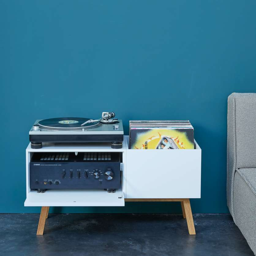 Hifi sideboard with turntable and LPs